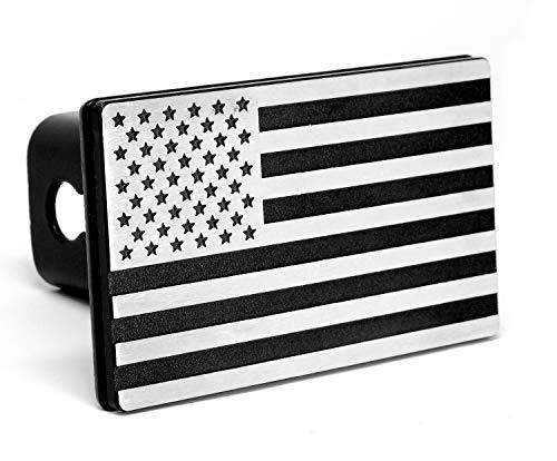 MULL USA American Flag Aluminum Trailer Hitch Cover Fits 2quot receivers Aluminum Black