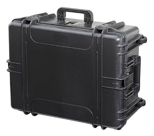 MAX620H250STR - Waterdichte en stofdichte koffer met aanslagschuim in de bodem en noppenschuim in het deksel (620 mm x 460 mm x 250 mm) (zwart) (met wielen en uittrekbare handgreep)
