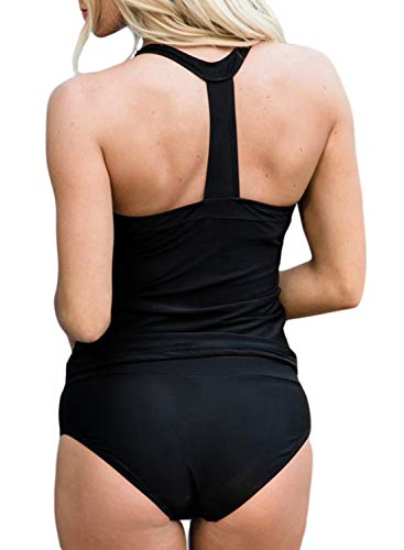Elapsy Womens Sleeveless Halter T Back Tankini Top with Bottom Two Pieces Surfing Swimwear Black Small 6 8