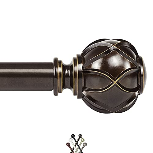 KAMANINA 1 Inch Curtain Rod Single Drapery Rod 72 to 144 Inches, Netted Texture Finials, Antique Bronze