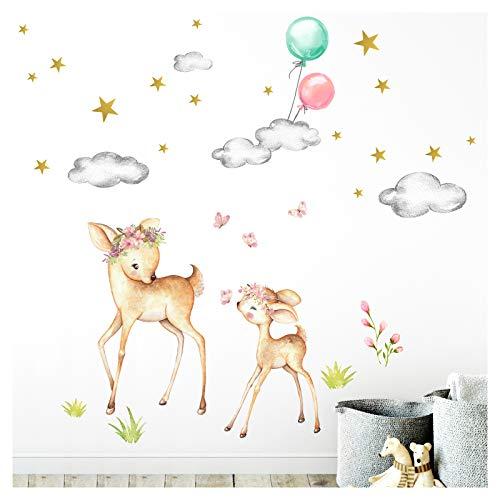Little Deco DL469 - Adhesivo decorativo para pared (105 x 102 cm), diseño de ciervo con flores