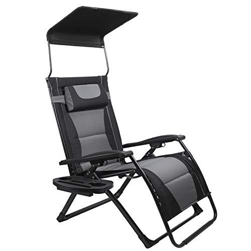 Adako big and tall zero gravity chair with canopy