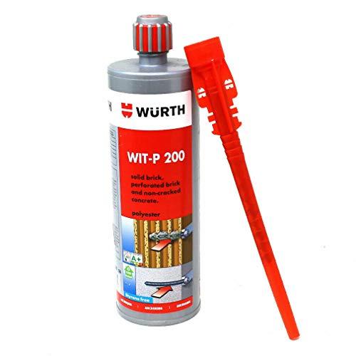 tendaggimania Anclaje químico profesional WURTH WIT- P 200, cartucho de 420 ml, específico para el anclaje de tacos (1 cartucho)