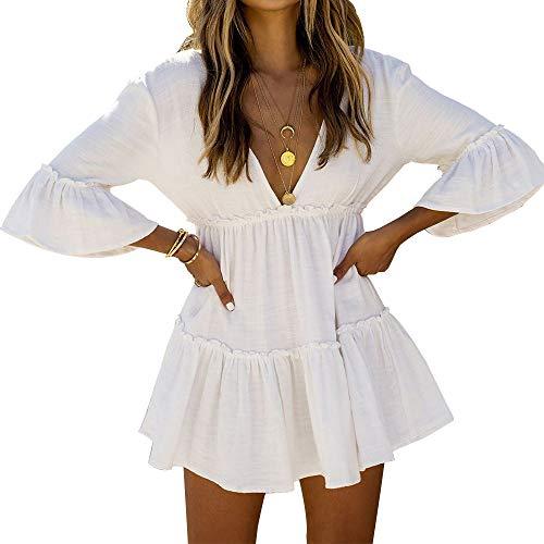 LULENQ Women Cover Ups Swimsuit Plus Size Beach Wear Swimwear Bathing Suit One Piece (F-White, Free Size)