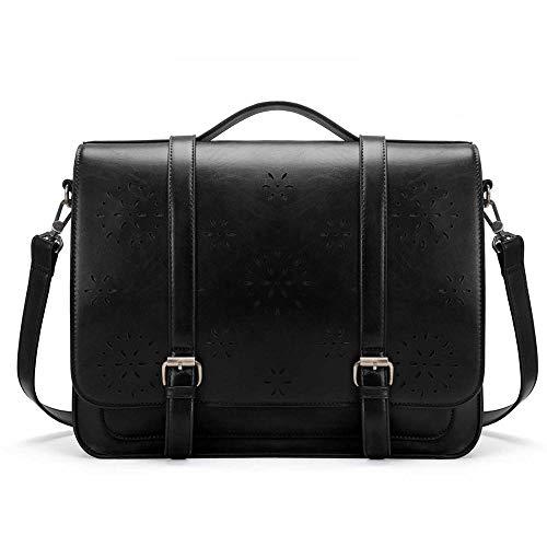 Générique schoudertas van PU-leer voor laptop, laptop, schoudertas, Messenger Satchel Fit 14 inch laptop zwart