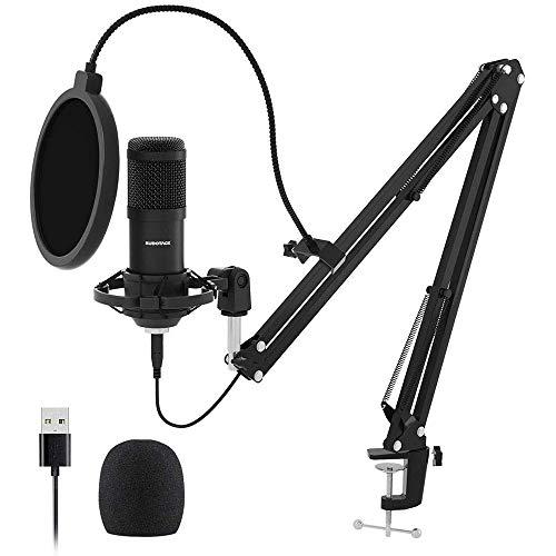 YCX Micrófono USB, micrófono Profesional de Podcast micrófono de Condensador Tarjeta de Sonido Brazo Boom Montaje de Choque Pop Filtrar podcasts de Radiodifusión