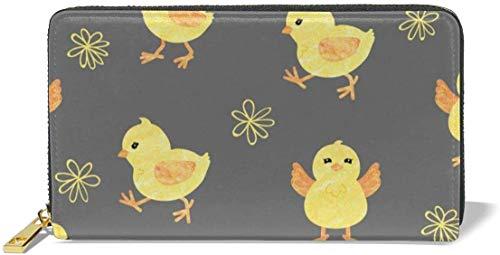 naotaori Cartera de Mujer Women's New Card Holder Wristlets Wallets Cartoon Chicks Grey Background