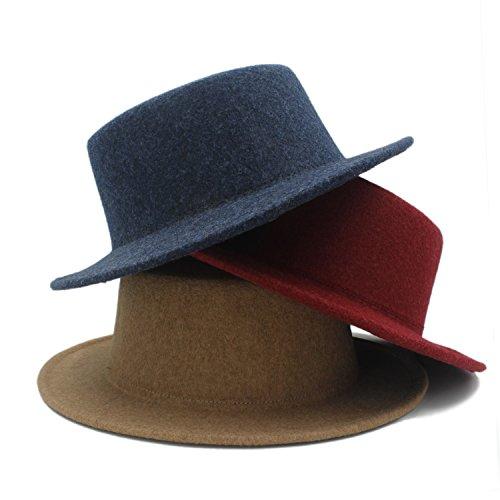 XACQuanyao Hut für Frauen/Männer 100% Wolle-Boater-Flache Spitzenhut für Filz-Breiten Rand Chepeu de Feltro Spieler Prok Torte Fedorahut (Farbe : 1, Größe : 57-58CM)