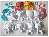 lpsloverqa White Base Shorthair Cat Cocker Spaniel Great Dane Collie Dachshund Base Model Sample Dog Puppy can Draw Pattern by Yourself Action Figure Toy Kids Gift 10 PCS