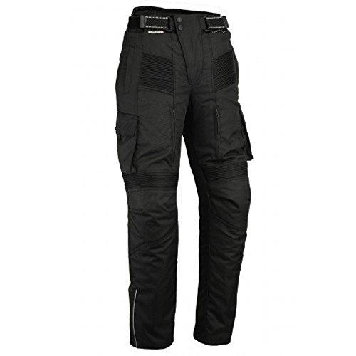 Australian Bikers Gear  Pantalon moto tipo Cargo con bolsillos laterales y con Kevlar anti abrasivo en el forro interior color Negro talla