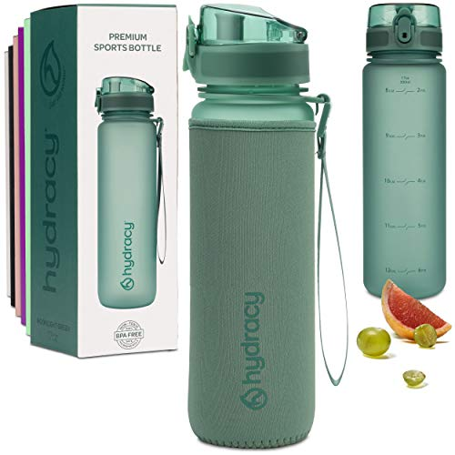 Hydracy Water Bottle with Time Marker - 500 ml 17 Oz BPA Free Water Bottle - Leak Proof & No Sweat Gym Bottle with Fruit Infuser Strainer - Ideal for Fitness or Sports & Outdoors Moonlight Green