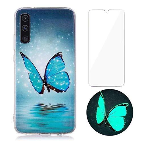 YiKaDa - Cover per Samsung Galaxy A50 / A30s + Pellicola Protettiva in Vetro Temperato, Custodia Luminosa Morbida in Silicone TPU - Glitter Farfalle