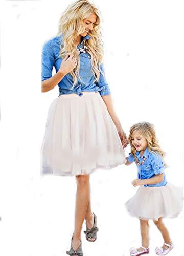 Familie Bijpassende Rok, Button Down Denim Shirt met lange mouwen Tulle Mini Rok Outfits, Mama en Dochter Zomer Korte Rok Seaside Party, Vrouw Klein Meisje Kleding