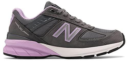 New Balance Women's W990V5 Running Shoe, Size: 8.5 Width: B Color: Lead/Dark Violet Glo