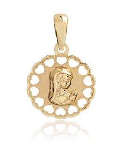 Medalla Bebé/Niñas Oro 18 Ktes Virgen Niña Tamaño 13 mm