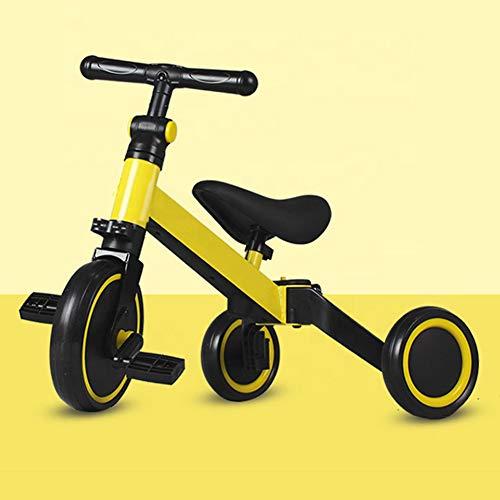 YUMO 3 in 1 Laufräder Laufrad Kinderdreirad Dreirad Lauffahrrad Lauflernhilfe für Kinder ab 1 Jahre bis 5 Jahren,Gelb