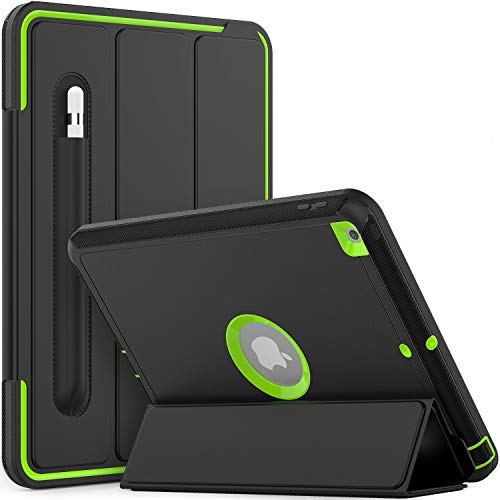 Timecity Smart Case for iPad 7th Generation (iPad 10.2 Case 2019), Auto Wake/Sleep Smart Stand Cover with Pencil Holder, Rugged Durable Protective Cover for iPad 7 Generation 10.2 Inch, Black/Green