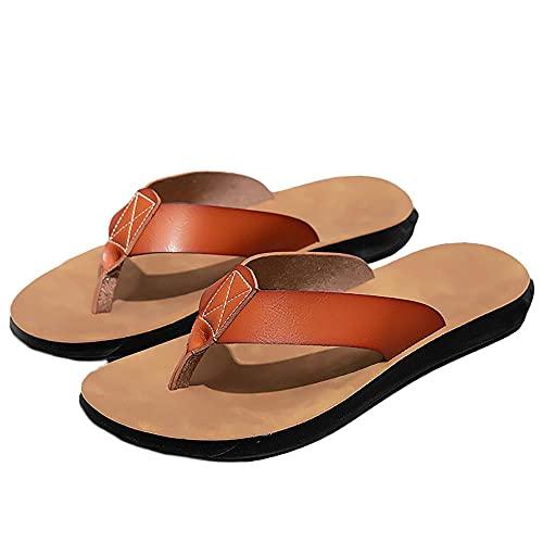 Chanclas arco soporte deportivo tanga sandalias, osciladores de gran tamaño personajes de doble propósito arrastre los hombres fresco hacia zapatos de playa de ocio al aire libre marrón claro_10