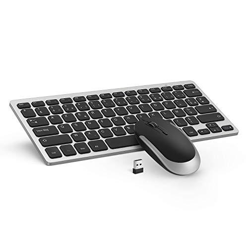 Jelly Comb Ensemble Clavier Souris sans Fil UltraMince Clavier AZERTY pour Ordinateur Portable PC-Noir et Argent