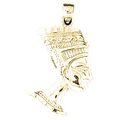 JewelsObsession - Colgante de oro amarillo de 14 quilates, 31 mm, diseño de faraón egipcio