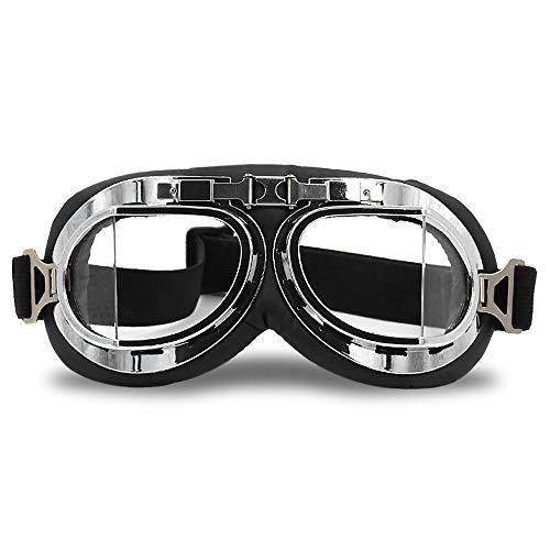ZJY Winddichte transparente Vintage-Motorradbrille - Staubdicht, UV-beständig, verstellbar, Elastikband, Höckerschwamm, Bequeme Passform - Geeignet für das Skifahren mit Motorrollern