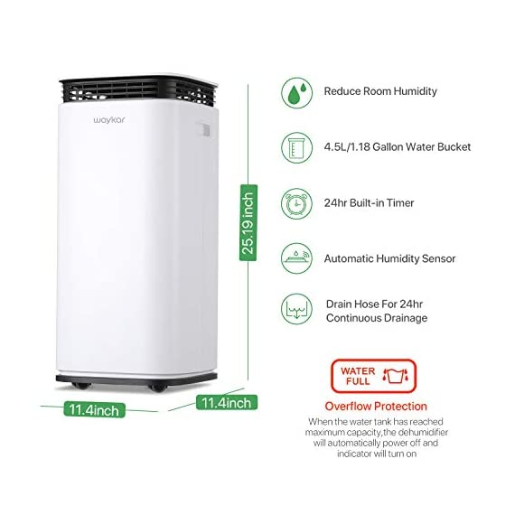 Waykar 4500 sq. Ft dehumidifier for home basements bedroom garage, removes 9 gallons moisture/day, with continuous drain… 8 dehumidifier for spaces up to 4500 sq ft- our dehumidifier are able to remove up to 70 pints (under 95°f,85%rh condition) of moisture per day. (please note: under 95°f,85%rh condition, the max dehumidification capacity up to 70 pints)in areas up to 4,500 sq. Ft and adjust humidity from 30% to 85%. It is a dehumidifier ideal for any basements, office, home, bathroom, bedroom, kitchen, stockroom, living room, laundry room, cellars, crawlspace, large spaces/room, etc.. Unique design for the modern home- the waykar dehumidifiers designed with the sleek and modern look. With built-in wheels and ergonomically placed handles, you can move this dehumidifier easily. A quiet fan that won't disturb you when you sleep or at work, adjustable fan speeds for multiple choices. There are 4 air outlets in the four sides of dehumidifier instead of that in one side, with this design will improve the speed of dehumidify. Intelligent touch control- there is an intelligent screen touch control panel display on the dehumidifier, you can operate it easily. Humidity auto control: simply adjust to your ideal moisture setting, it will smartly sense room humidity and control dehumidification to maintain pre-set humidity levels. 24-hour timer: for preset operation and reduced energy consumption. Automatic shut off/on: shuts off automatically when the bucket is full, and switch it on again after the bucket been emptied.