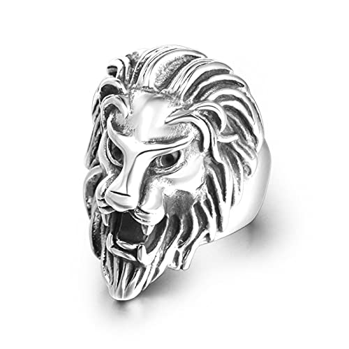 LINYIN Anillo dominante de la Cabeza del león Anillo de fundición de Acero de Titanio para Hombres y Mujeres Parejas Beauty Wai 7