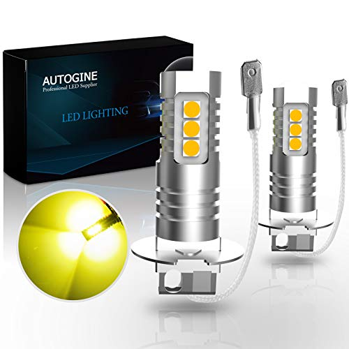 AUTOGINE H3 LED Fog Light Bulbs, 2000 Lumens Extremely Bright 3030-SMD H3 LED Bulbs with Projector for Auto Motorcycle Cars Trucks SUV Fog DRL Lights(3000K Amber Yellow)