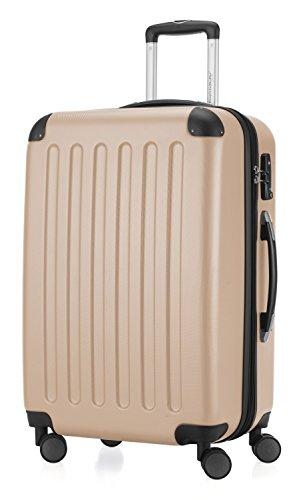 HAUPTSTADTKOFFER - Spree - Hartschalen-Koffer Koffer Trolley Rollkoffer Reisekoffer Erweiterbar, TSA, 4 Rollen, 65 cm, 74 Liter, Champagner
