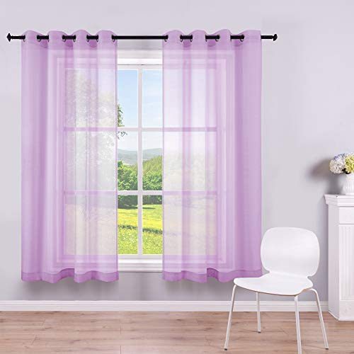 Purple Curtains 45 Inch Length for Nursery Set 2 Panels Grommet Semi Sheer Short Curtains for Bedroom Girls Small Windows Bathroom Kids Room Wide 52x45 Inches Long 1 Pair Lavender Lilac Purple