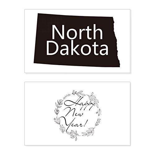 Noord-Dakota Amerika USA kaart Silhouette Nieuwjaarskaart Herdenkingsbericht Zegen