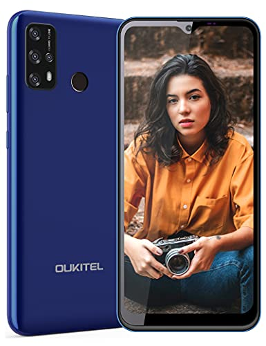 Smartphone Libres, OUKITEL C23 Pro 5000mAh Android 10 Teléfono Móvil Libre 4G, 4GB/64GB 256GB Extensión, 6,53 Pulgadas, Móviles Barato Dual SIM, 4X Cámara 13MP+8MP, Face/Fingerprint ID (Azul)