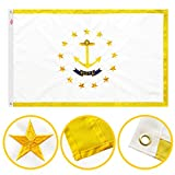 Winbee Rhode Island State Flag 3x5 Ft - Premium Embroidered, Long Lasting 300D Nylon, Sewn Stripes, Brass Grommets and UV Protected. Best American Rhode Island Flag Great for Outdoor/Indoor Display.