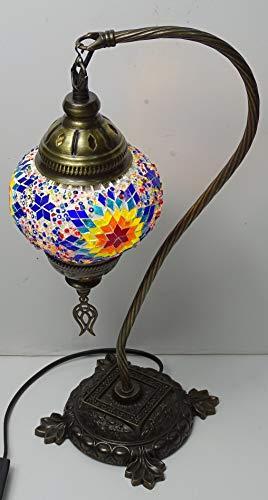 Lámpara Turca curva sobre mesa - metal y cristal_43 cm de altura...