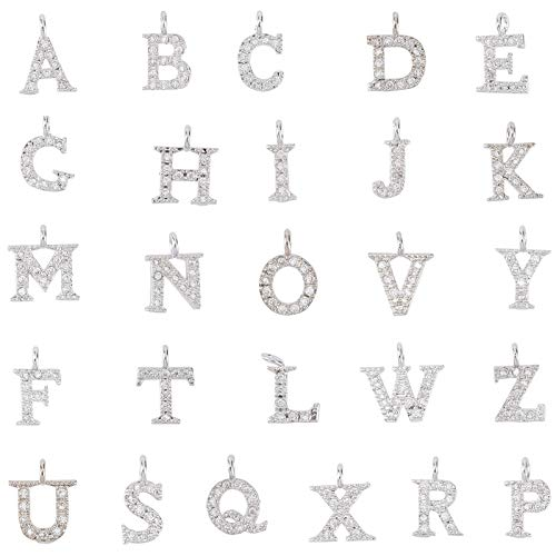 SUNNYCLUE 1 Caja Abalorios de Letras de Diamantes de Imitación Letras Brillantes A ~ Z Abalorios Espaciadores de Letras para Pulseras Collares Fabricación de Joyas Manualidades DIY