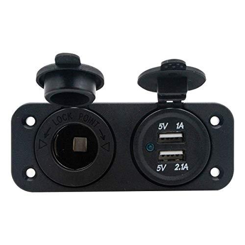 Riloer Cargador de Doble Toma USB 2.1A y 2.1A con Voltímetro LED + Toma de Corriente de 12 V / 24 V + Interruptor de Palanca de Encendido y Apagado, Panel de 3 Funciones para Automóvil, Barco