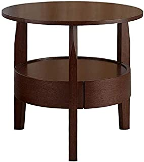 End Tables Side Table Solid Wood 2 Tier Round Small Tea Table, Simple Living Room Couch Table, Household Storage Reading Table with Drawer (Color : B, Size : 6060 cm)