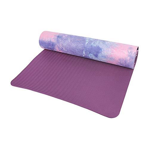 Joycaling Esterilla de yoga TPE con protección del medio ambiente, antideslizante, para yoga, pilates y gimnasia, 183 x 61 x 0,5 cm (color: morado, tamaño: 183 x 61 cm)