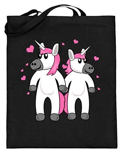 Divertido unicornio rosa unicornio caballo ponys para niñas y princesas diseño – Bolsa de yute (con asas largas), color Negro, talla 38cm-42cm