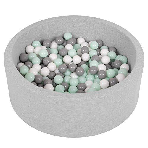 Selonis Piscine À Balles 90X30cm/200 Balles Ronde En Mousse Pour Bébé Enfant, Gris Clair:Blanc/Gris/Menthe