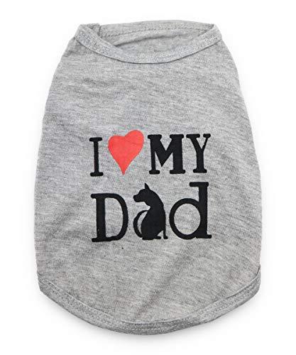 DroolingDog Dog Shirts I Love My Dad Dog Clothes Pet Tshirt for Small Dogs, Large, Grey