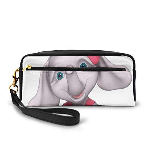 Pencil Case Pen Bag Pouch Stationary,Cheerful Baby Girl Smiling Elephant 3D Cartoon Style Print,Small Makeup Bag Coin Purse