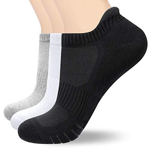 anqier Sneaker Socken Damen Herren, 3 Paar Gepolsterte Laufsocken Baumwolle Sportsocken 39-42 35-38 43-46 47-50 Atmungsaktiv wandersocken Schwarz Weiß Grau