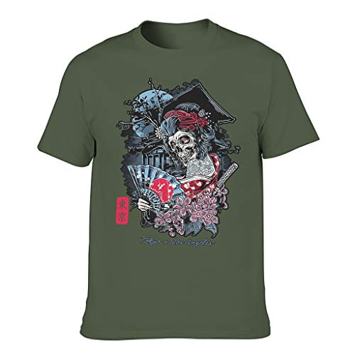 T Shirt Japanese Geisha Skull Tokyo for Men European Style Pattern with Light Feeling Gift for Friend Army Green XL