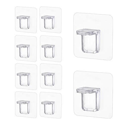 brightsen 10 piezas separador de armario transparente fuerte autoadhesivo armario zócalo soporte fuerte material de unión separador estante ganchos pegajosos