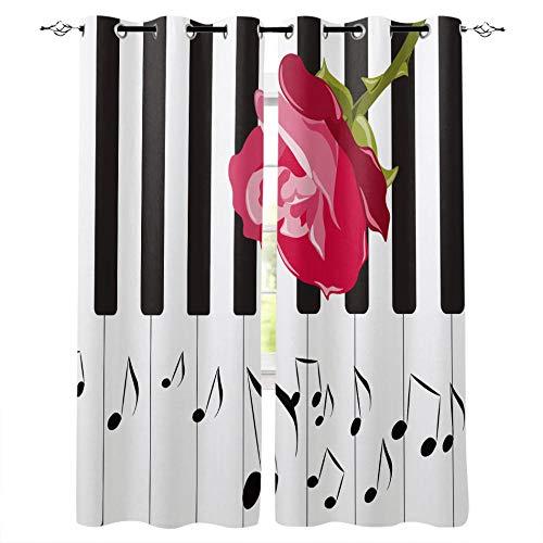 JRLTYU Blackout Curtains Flor de Piano a Rayas Rojo Negro Blanco Cortinas Térmicas Aislantes con Ojales 100% Poliester para habitación Infantil, salón y habitación 75x166cm x2
