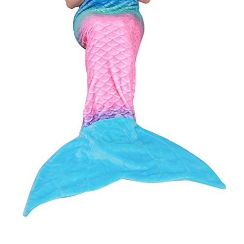 softan Mermaid Tail Blanket for Kids Teens Adults,Plush Soft Flannel Fleece All Seasons Sleeping Blanket,Rainbow Ombre Fish Scale Design Snuggle...