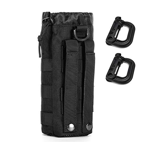 Upgraded Sports Water Bottles Pouch Bag, Tactical Drawstring Molle Water Bottle Holder Tactical Pouches, Travel Mesh Water Bottle Bag Tactical Hydration Carrier (Black-1Pack)