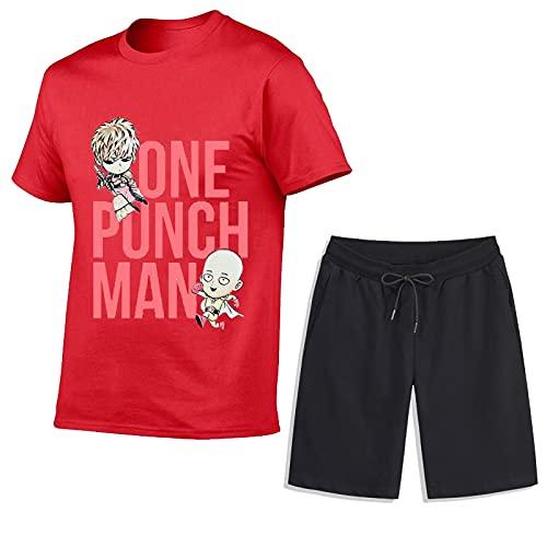 Juego de trajes de chándal para el verano - One Punch-Man Casual 2 pieza de manga corta camiseta Top Pantalones cortos Pantalones cortos Bottom Sportswear Trajes deportivos Trajes deportivos,O-S