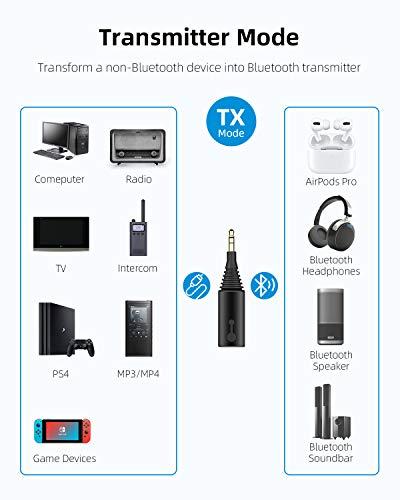 Hagibis Bluetooth 5.0 Transmitter Receiver, 2 in 1 Wireless aptX HD Audio 3.5mm Jack Adapter Support aptX Low Latency, for TV/Car/Nintendo Switch/Speaker, Pairing 2 Bluetooth Headphone Speaker (Black)